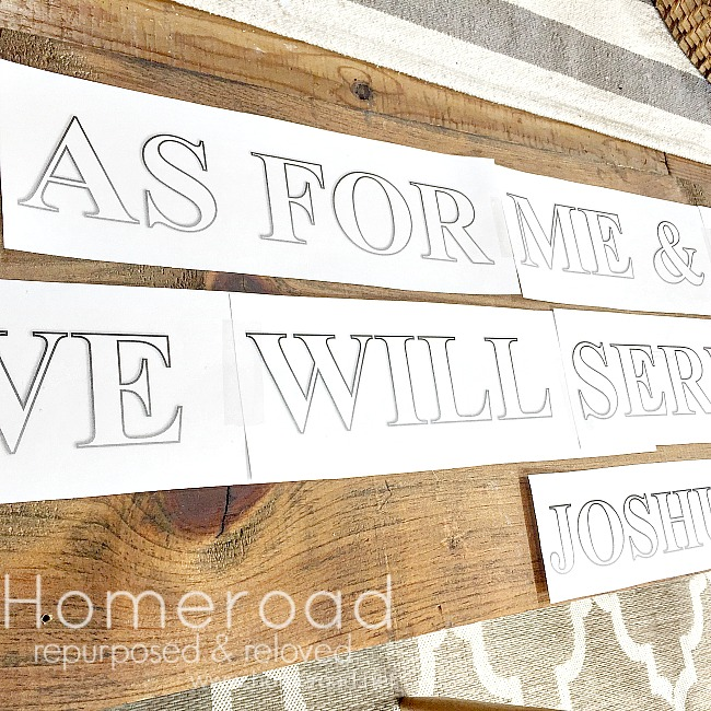 Rustic sign lettering for a bible verse sign