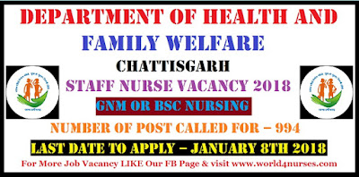 Department of Health and Family welfare Chattisgarh Staff Nurse Vacancy