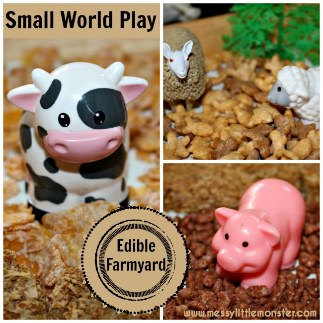 Edible/ taste safe farm animal small world activity. Imaginative play for babies, toddlers and preschoolers. EYFS.