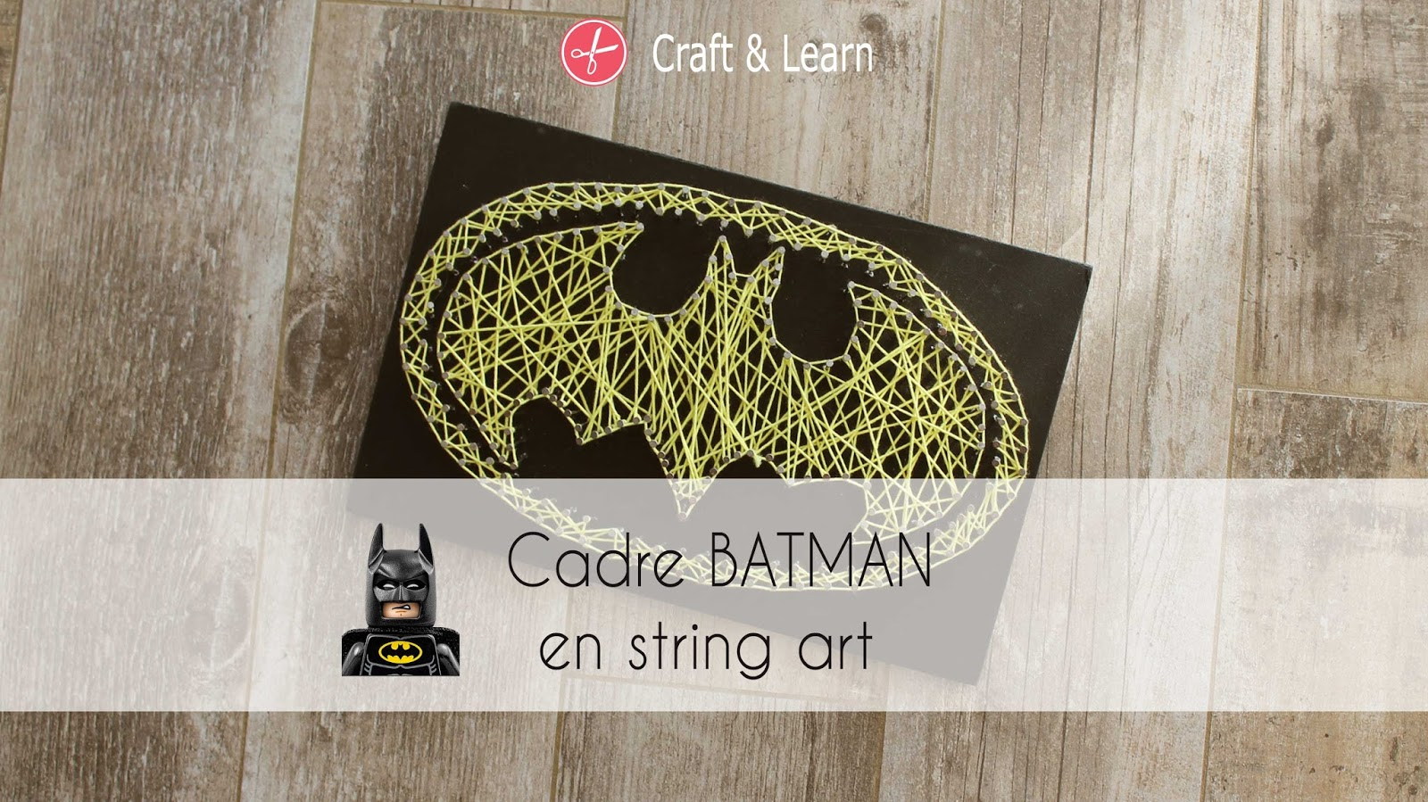 fabriquer un cadre batman en string art high five family. Black Bedroom Furniture Sets. Home Design Ideas