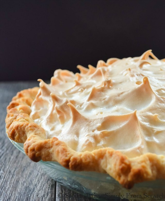 Lemon Meringue Pie recipe with a weep free meringue is a must for Thanksgiving and Christmas dessert table from Serena Bakes Simply From Scratch.