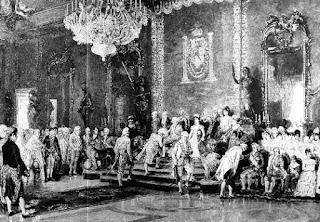 El grabado muestra a los invitados aguardando su turno para reverenciar a los reyes, sentados en el trono, y al príncipe Carlos, sentado más abajo.