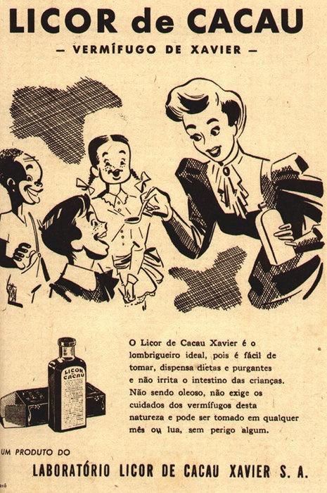 Campanha do Licor de Cacau Xavier veiculada nos anos 50 apresentando suas várias propriedades para benefício da saúde das crianças