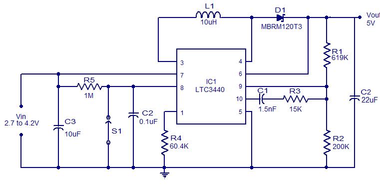 LTC3440 5V Boost Converter Circuit ~Circuit diagram