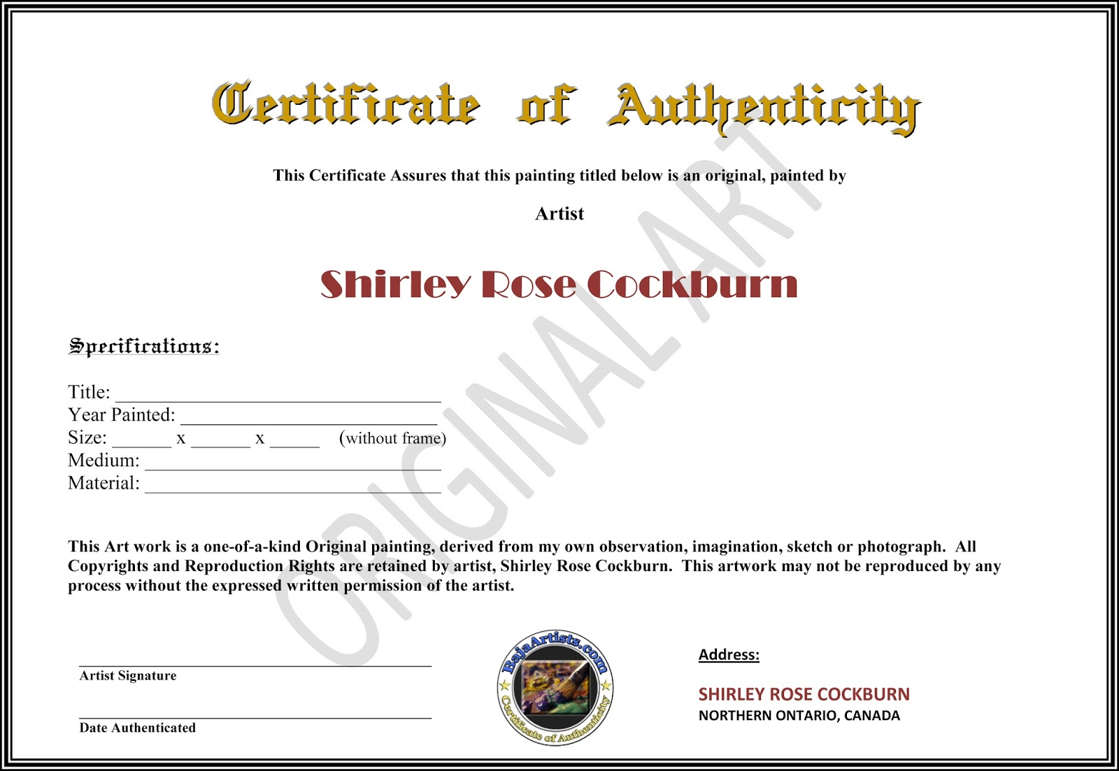 Certificate of authenticity art template images templates certificate of authenticity art template images templates cockburnstudio certificate of authenticity comes with every original painting 1betcityfo Gallery