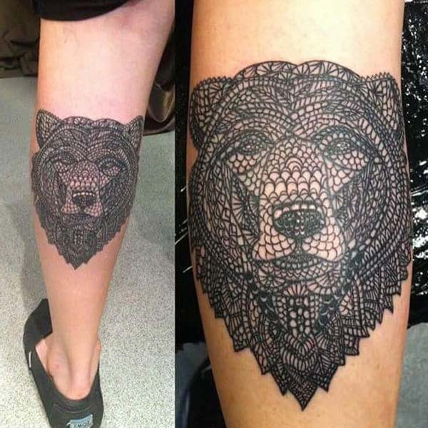 ankle bear tattoo geometric