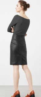 Falda lapiz polipiel de oficina para invierno 2017