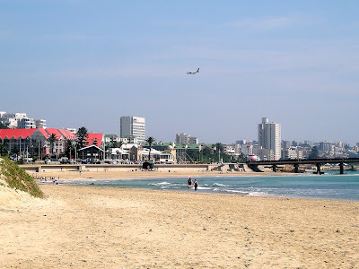 South Africa, Port Elizabeth, airplane, beach, skyline