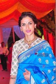 Actress Model Shilpa Reddy Exclusive Stills in Blue Saree at Vijay Karan Aashna Wedding  0020.JPG