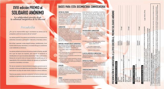 XVIII Edición del Premio al Solidario Anónimo, 2017.