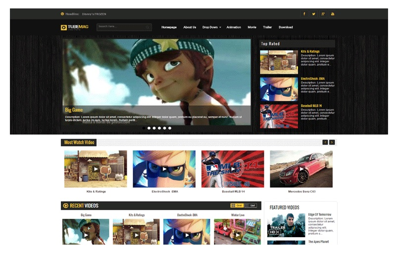 TubeMag Responsive Video Blogger Template Like YouTube Free Download