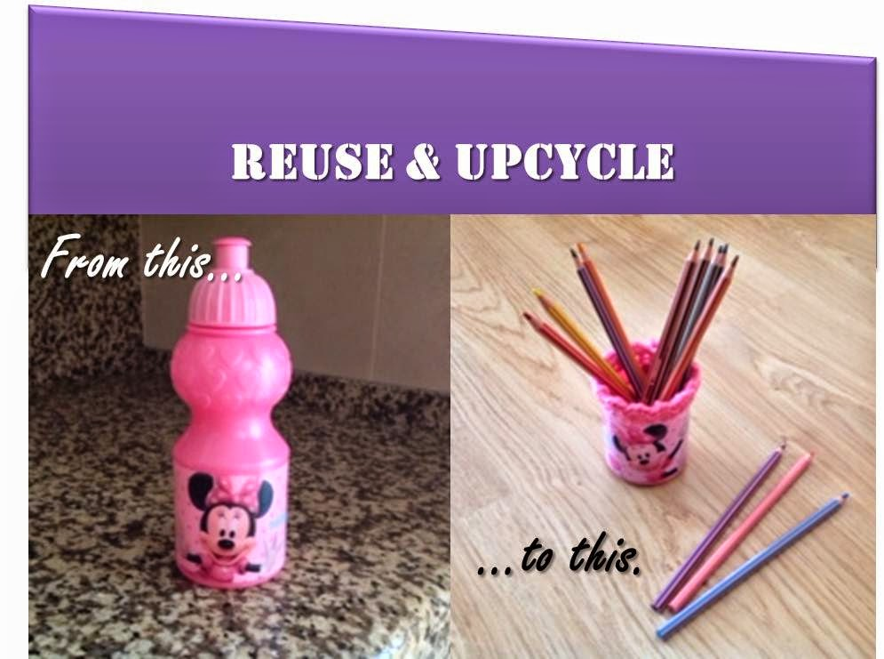 reuse, upcycle, water bottle to pencil holder