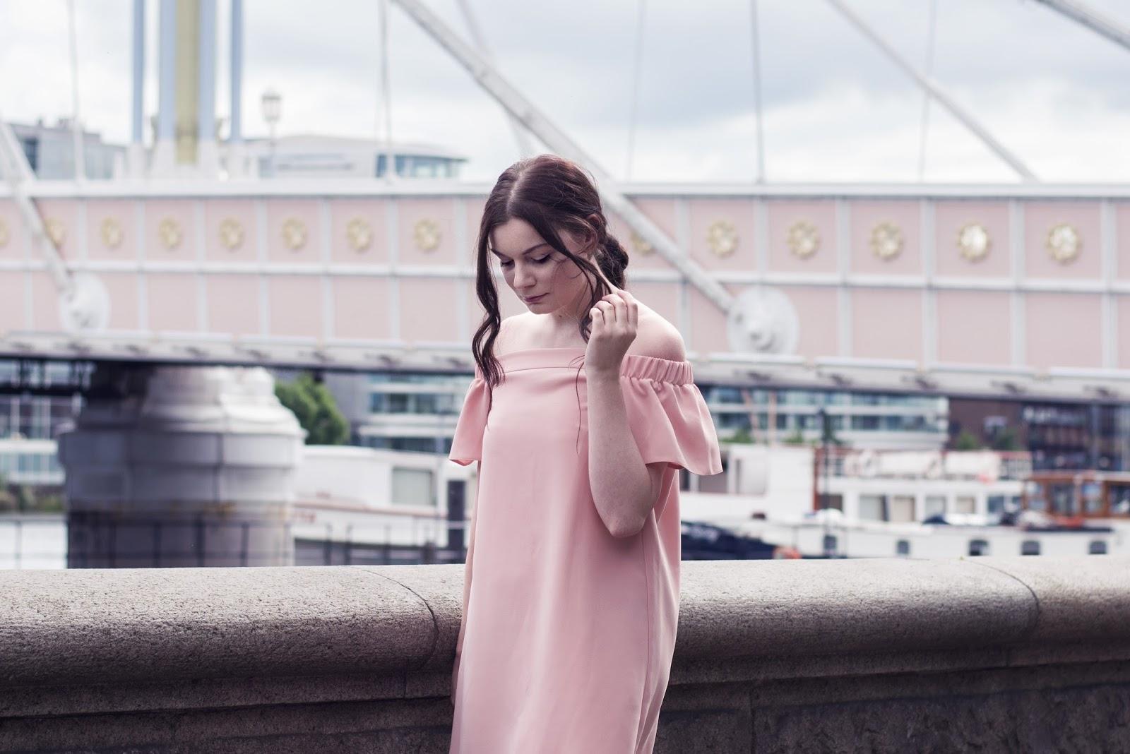 Pink Topshop Bardot Dress and Nike Air Force 1 | Albert Bridge Chelsea London | Rose Kiara Peaches