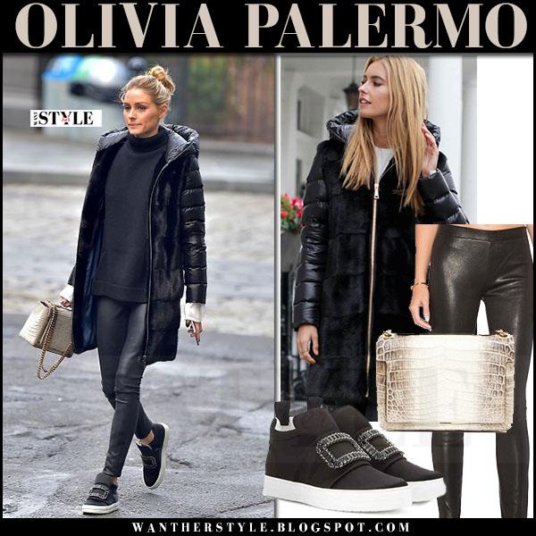Olivia Palermo in dark navy down padded coat mila furs lisa, black leather leggings j brand edita and black embellished sneakers roger vivier sneaky viv what she wore