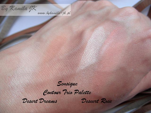 Palety do konturowania Contour Trio Palette Sensique Desert Dream i Desert Rose konturowanie Natura swatche