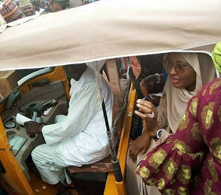 Aisha Buhari Spotted In Tricycle (Keke Marwa)