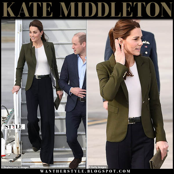 Kate Middleton in khaki green smythe duchess blazer and black wide leg jigsaw trousers royal family style december 5