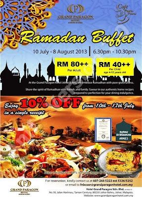 Ramadan Buffet  Grand Paragon Hotel Johor Bahru  Dewasa RM80 ++  Kanak-kanak RM40 ++  Untuk tempahan :07 268 5222 ext 5326 / 5252