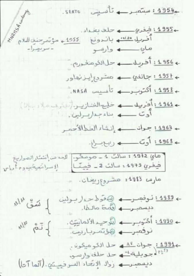 ملخص لتواريخ مادة تاريخ لطلاب البكالوريا جميع الشعب