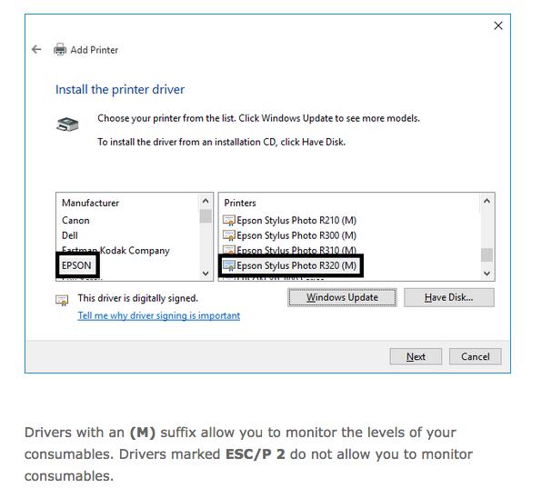 Pilote Epson Stylus 740 Windows 7