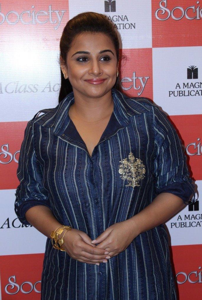 Actress Vidya Balan In Blue Dress at Magazine Launch