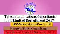 Telecommunications Consultants India Limited Recruitment 2017– Consultant