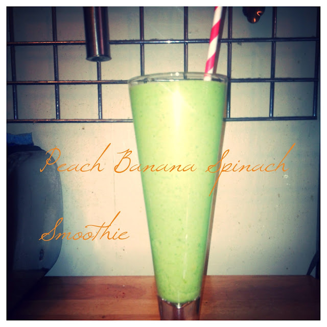 eating fabulously, christopher stewart, peach banana and spinach smoothie