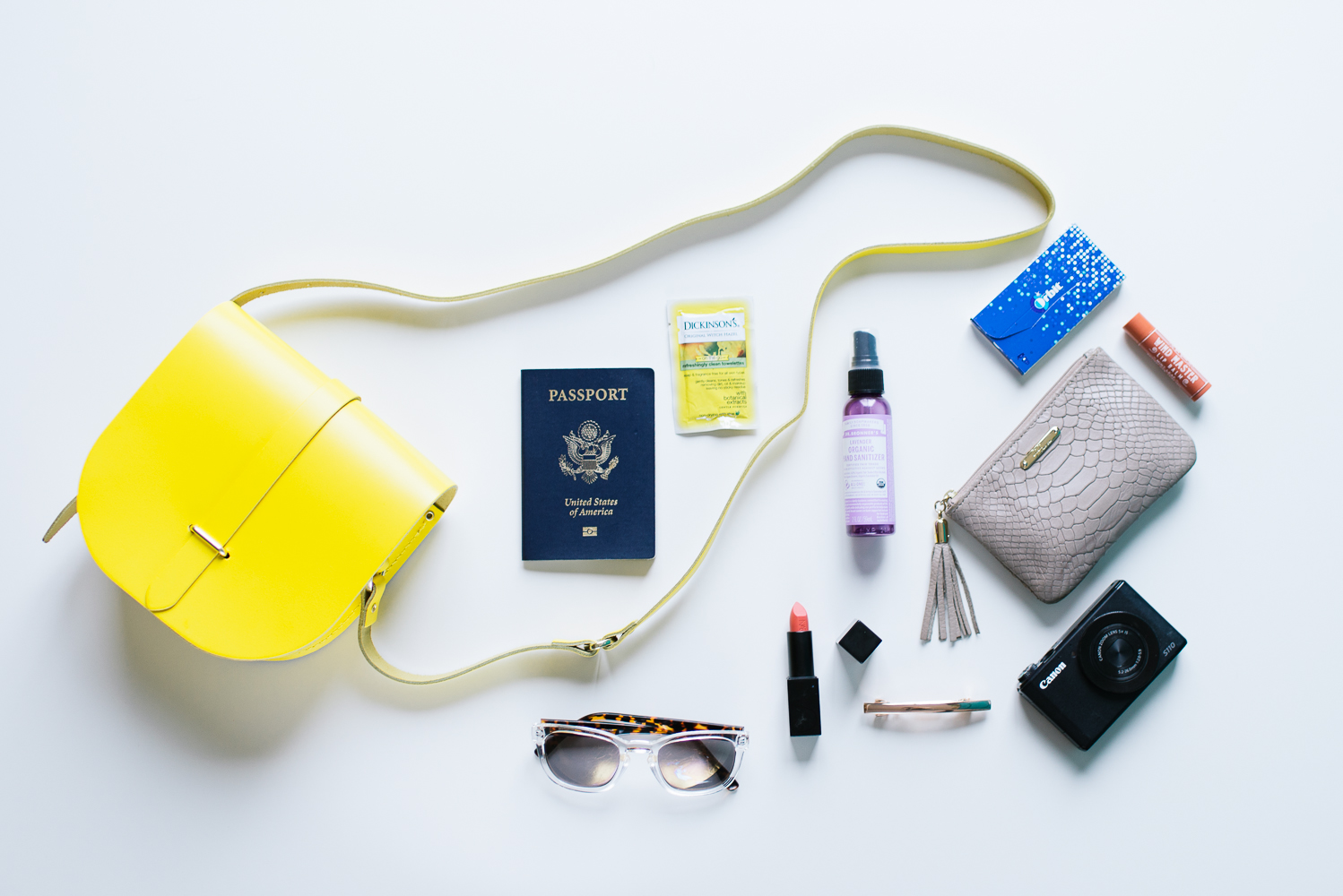 Beautyosaurus Lex-Alex Good-Cambridge Satchel-Saddle Purse-Yellow-What's in My Purse-Travel-2016.jpg