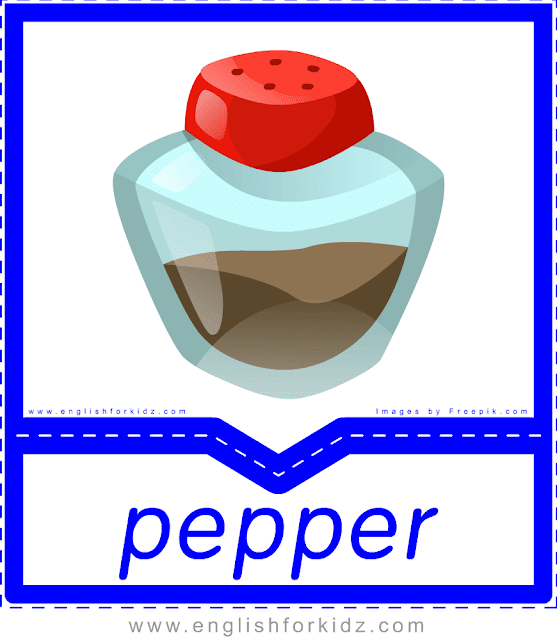 Pepper - English food flashcards for ESL students