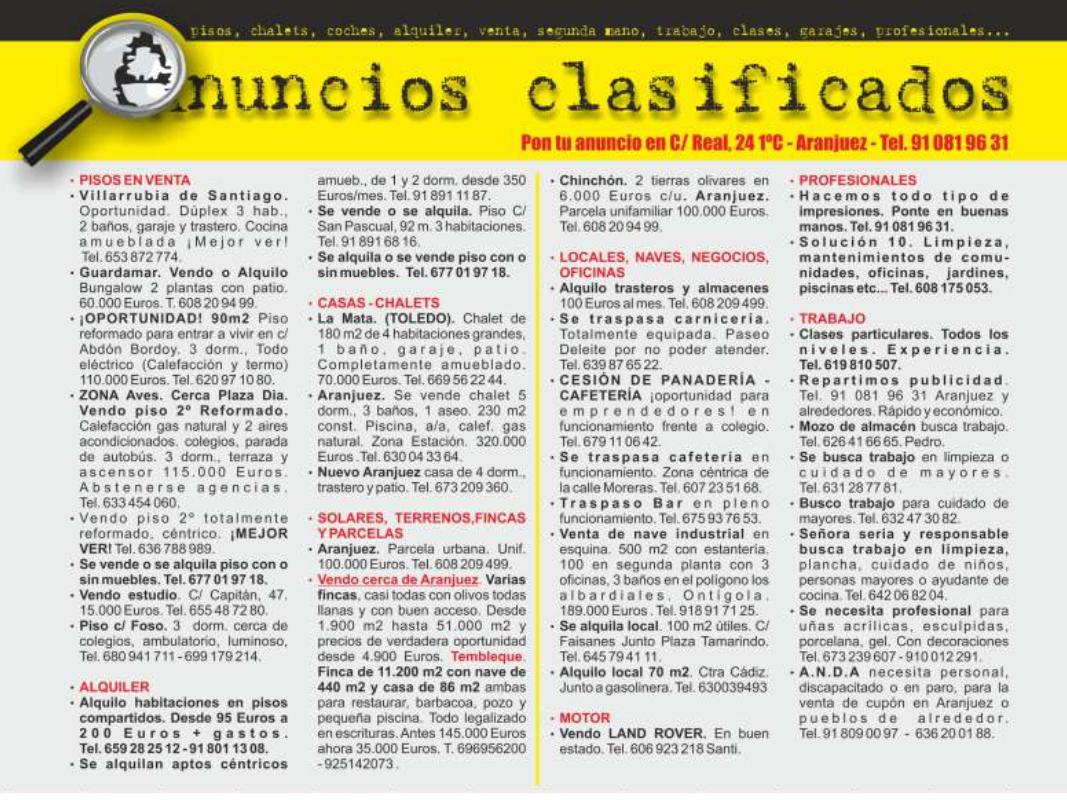3d7012b3af89 Heraldo de Aranjuez  ANUNCIOS CLASIFICADOS