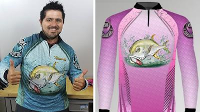camiseta de pescador e grupo de pesca