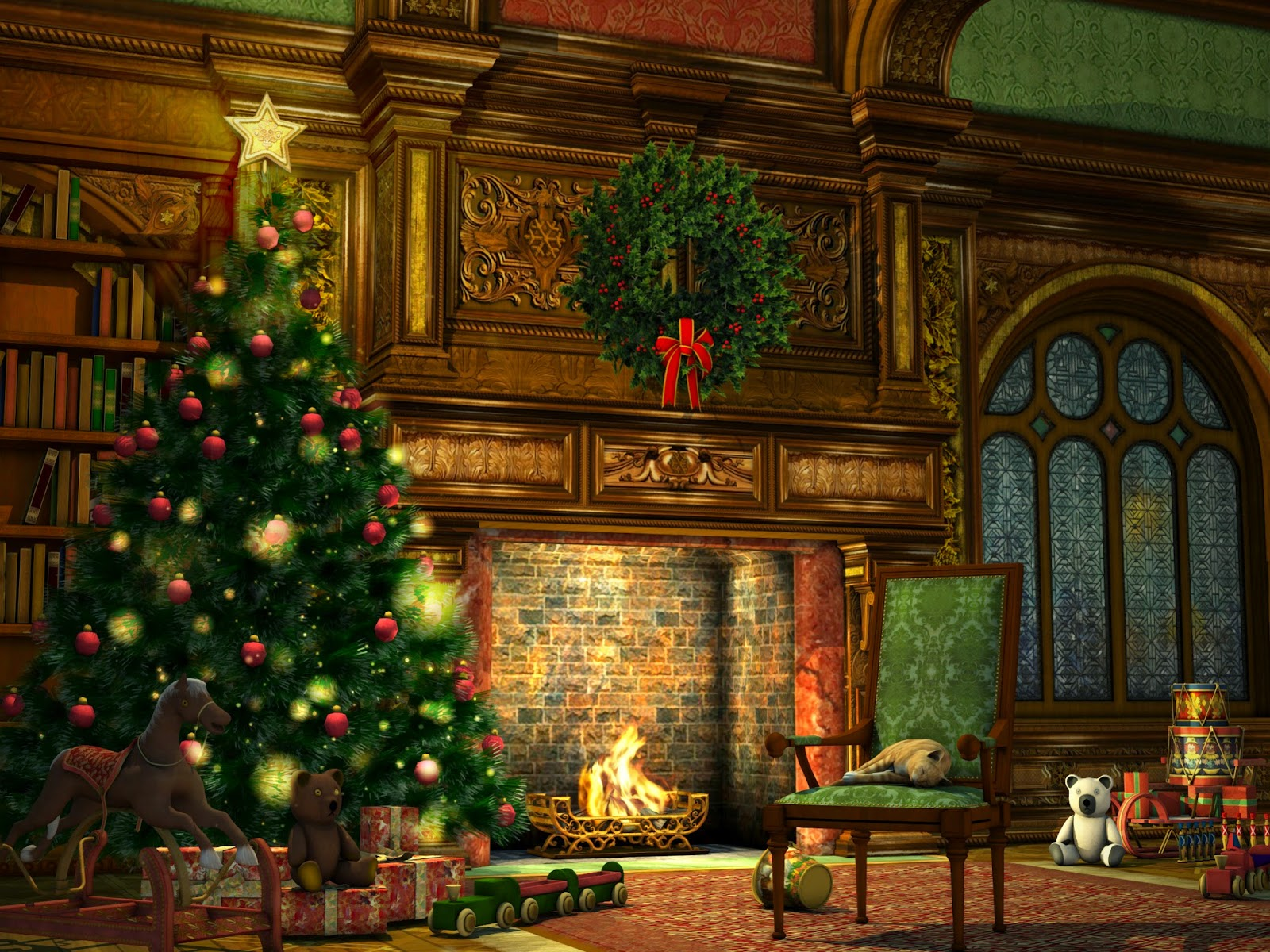 Fireplace-with-tree-chair-mantel-garland-wooden-background-picture-images.jpg