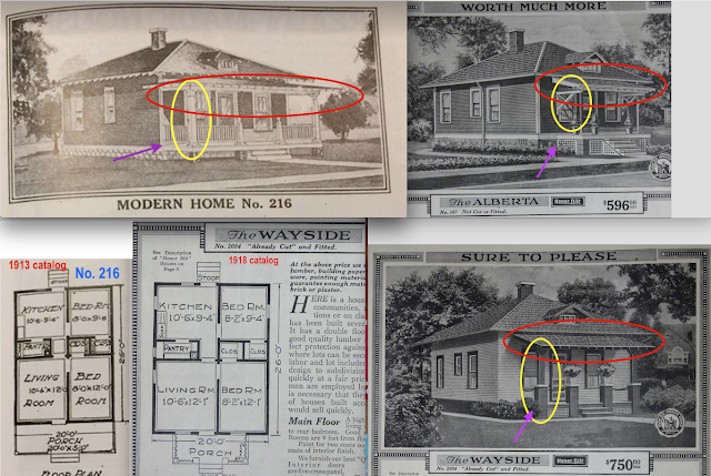 comparison of porches on Sears No 216 Sears Alberta and Sears Wayside