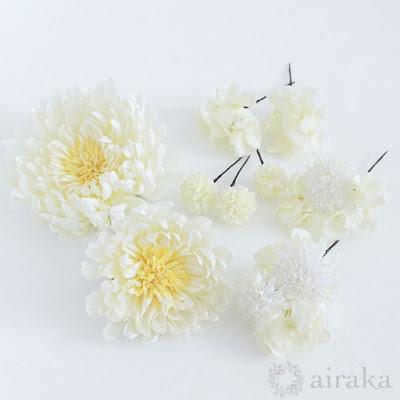 アーティフィシャルフラワー(造花)の白鞠菊の髪飾り_airaka