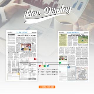 pasang iklan display koran KR jogja