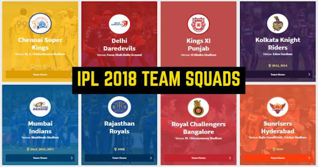 IPL 2018 All Team Complete Squads: IPL 11 Players List