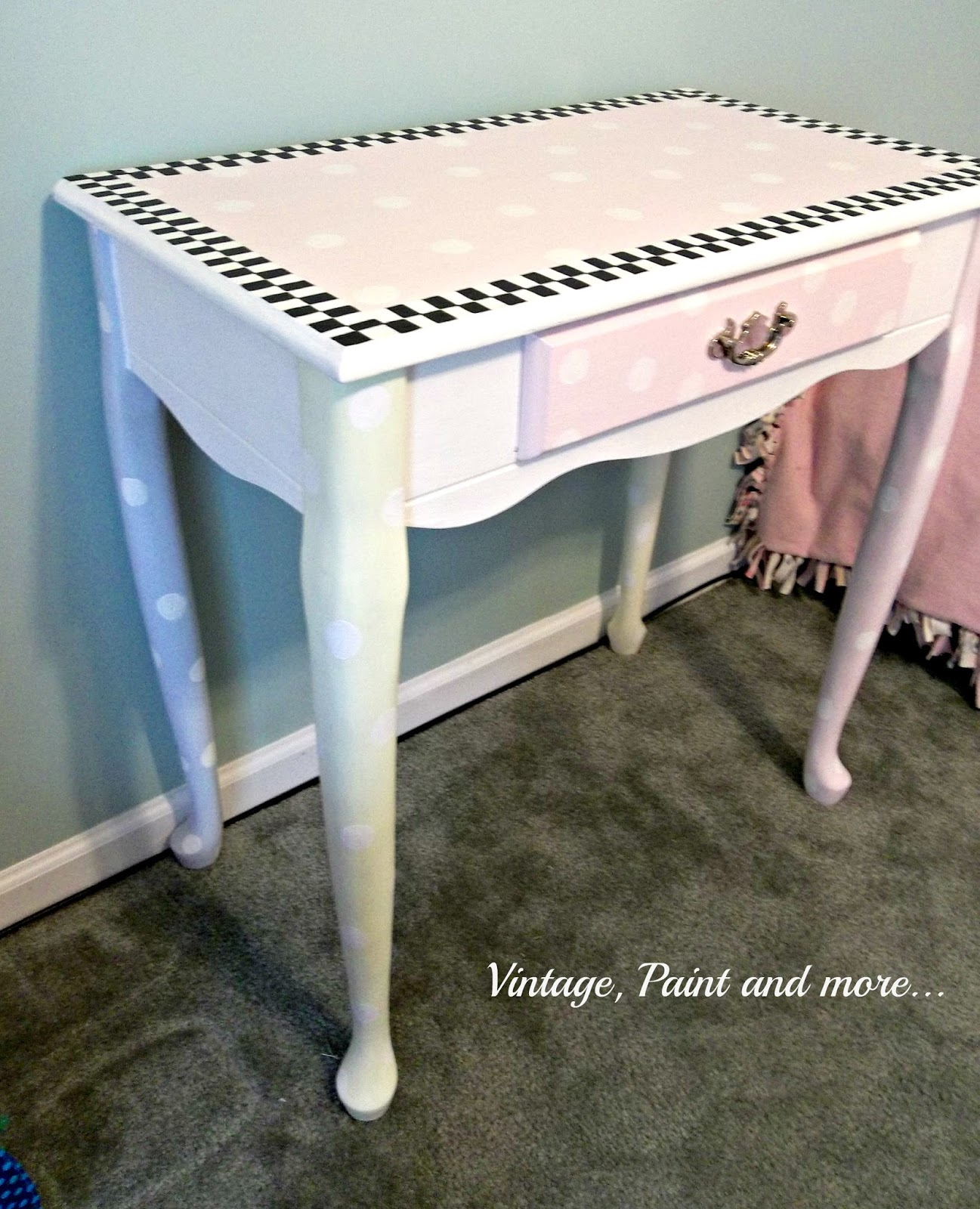 Vintage, Paint and more... thrifted desk made into fun whimsical piece for little girls room using paint
