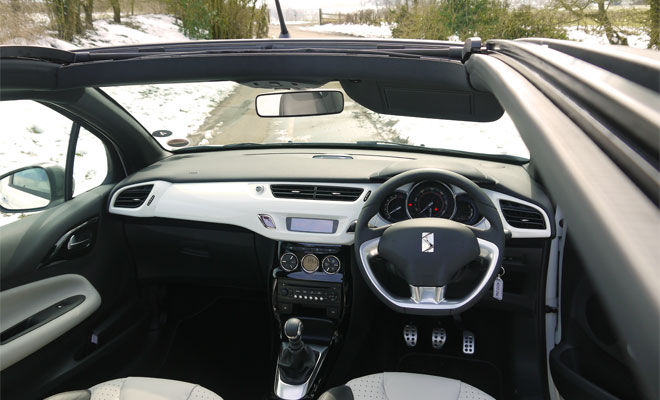 Citroen DS3 Cabrio interior with roof open