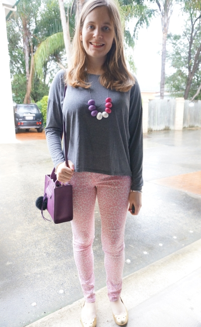 long sleeve grey tee with pink leopard print jeans purple mini MAB tote bag | Away From Blue