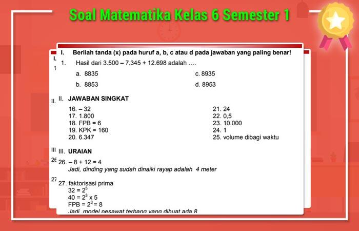 Soal Matematika Kelas 6 Semester 1