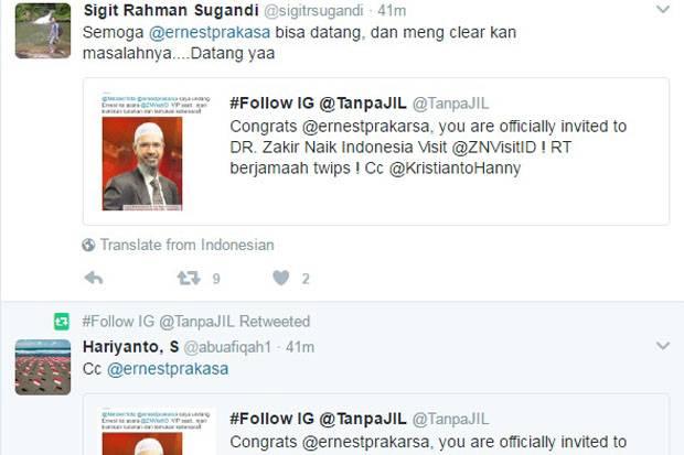 Netizen Tantang Ernest ke Zakir Naik Visit Indonesia 2017