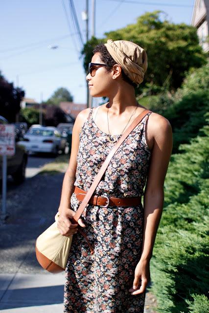seattle street style fashion it's my darlin' Summer Robinson floral dress head wrap
