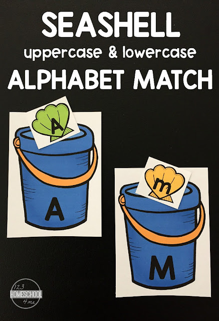 FREE Seashell Matching Upper and Lowercase Letters  - this is such a fun way for preschool, prek, and kindergarten age to practice identifying uppercase and lowercase letters.