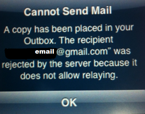 iphone 5 Can not send emails :email server does not allow