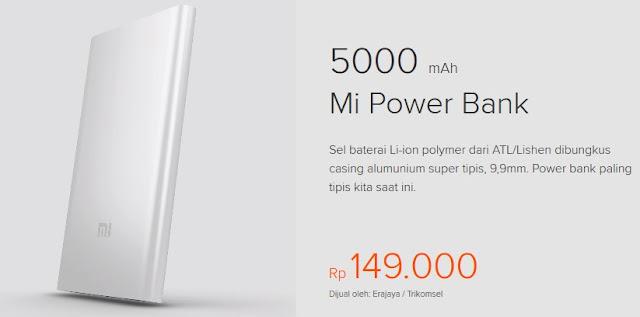 Power bank terbaik dan terkuat - Xiaomi Power Bank 5000 mAh