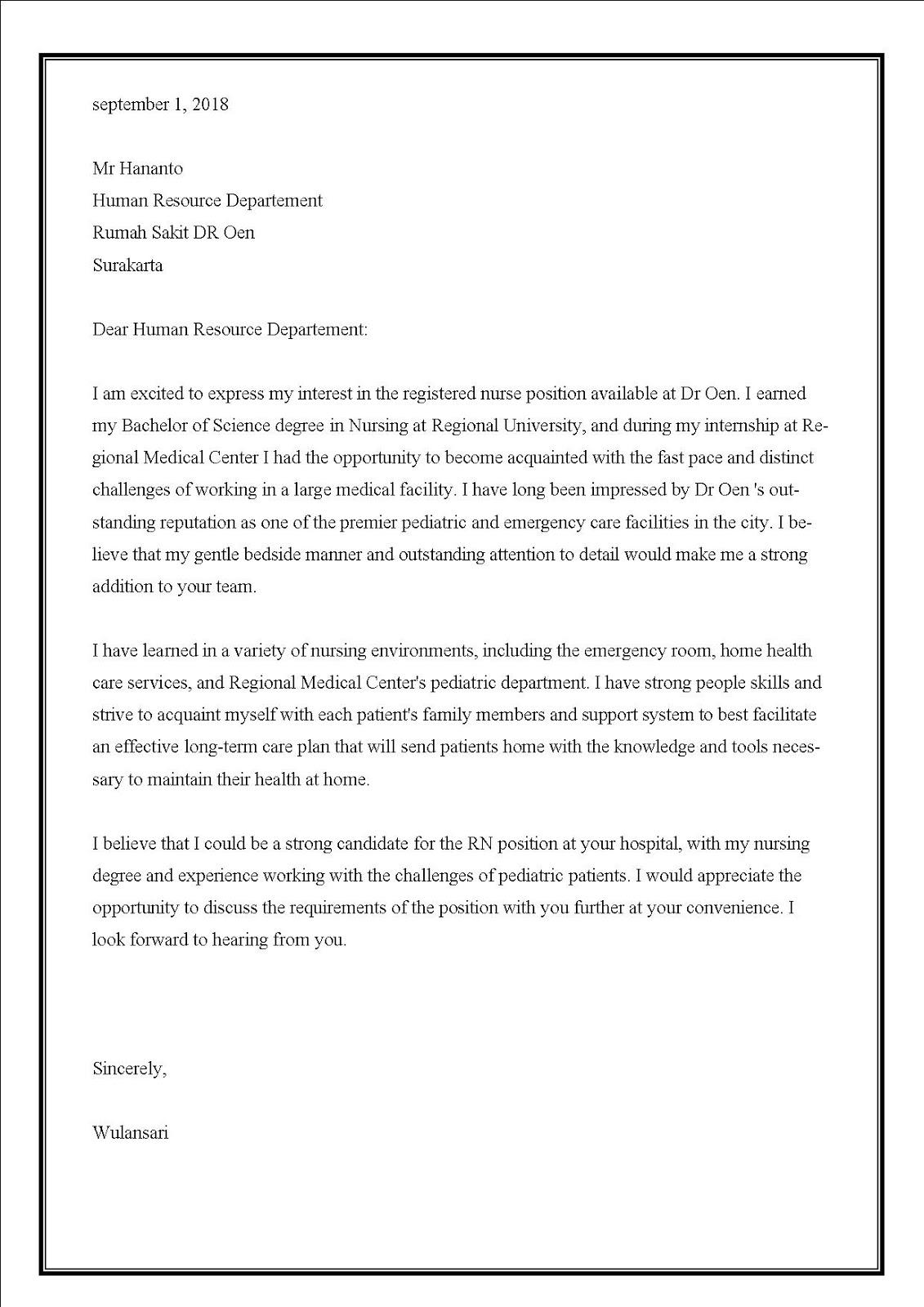 Contoh surat lamaran kerja di rumah sakit swasta sebagai perawat dalam bahasa Inggris