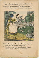 A page of verse and an illustration of a woman holding a goose by the neck.