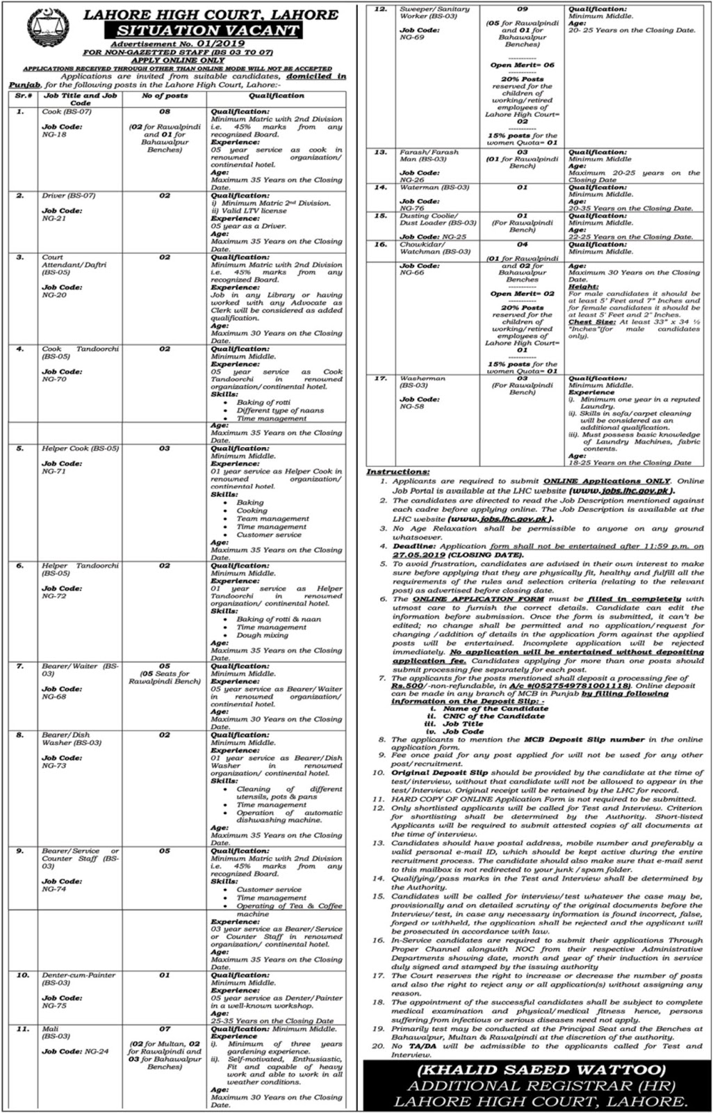 Lahore High Court Job 2019 Multiple New Vacancies