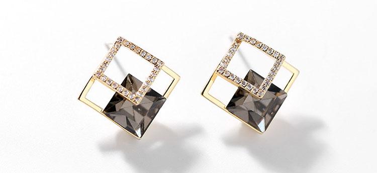 幾何金屬風深灰鋯石水鑽耳環