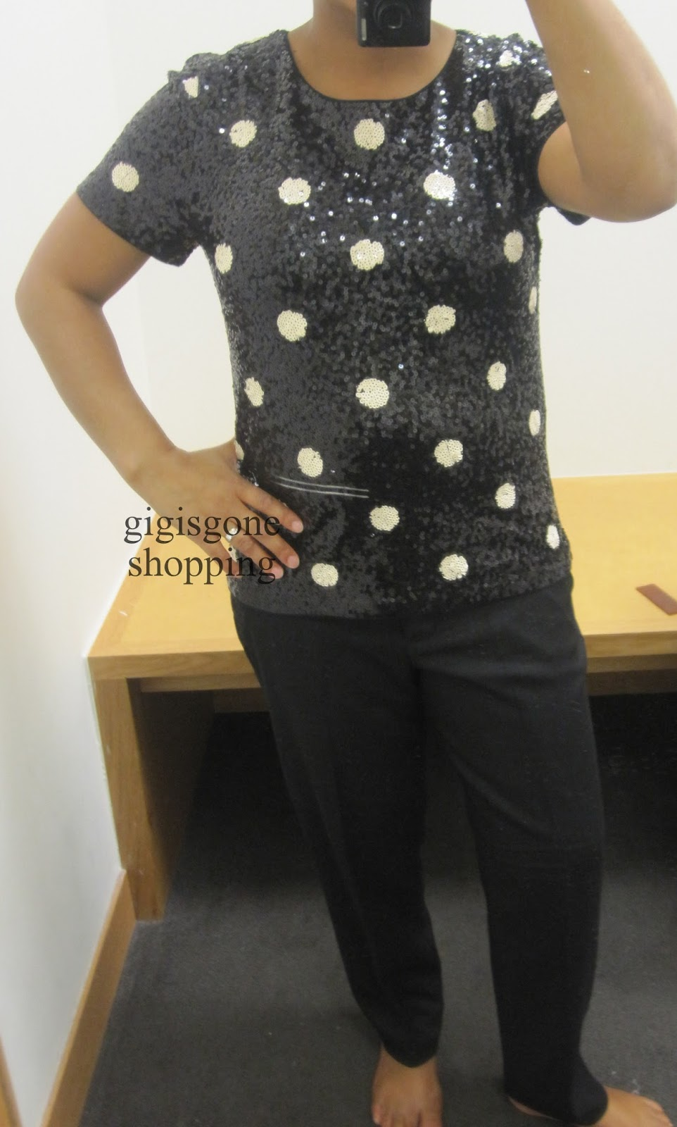 0046c4201 J Crew Factory - spotted sequin tee & jewel-collar button-down shirt ...